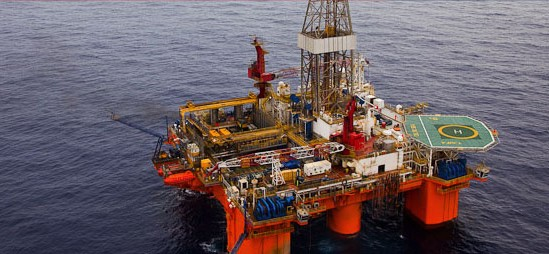 Transocean semisubmersible drilling rig offshore