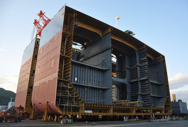 VLCC shipyard DSME block sections shipbuilding