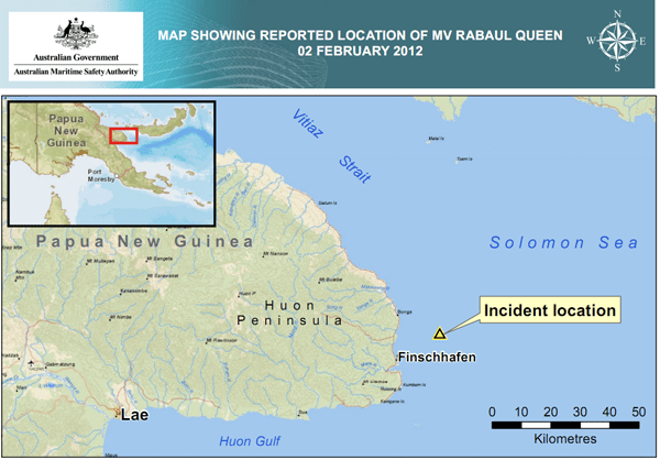 Australian Maritime Safety authority papua new guinea map mv rabaul