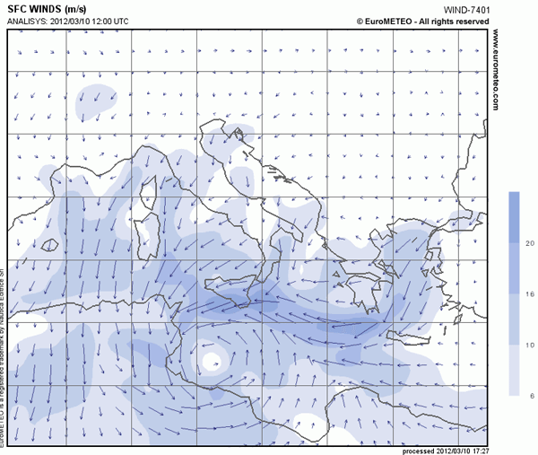 surface wind analysis mediterranean
