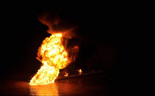 A pipeline burns after an allision with Shanon E. Setton near Bayou Perot 30 miles south of New Orleans, March 12, 2013. The Coast Guard is working with federal, state and local agencies in response to this incident to ensure the safety of responders and contain and clean up any oil that is leaking. (U.S. Coast Guard photo courtesy of Coast Guard Air Station New Orleans) Read more: http://www.dvidshub.net/image/885208/coast-guard-responds-allision-oil-spill-south-new-orleans#.UUCqLFpARqh#ixzz2NRFvxhvn