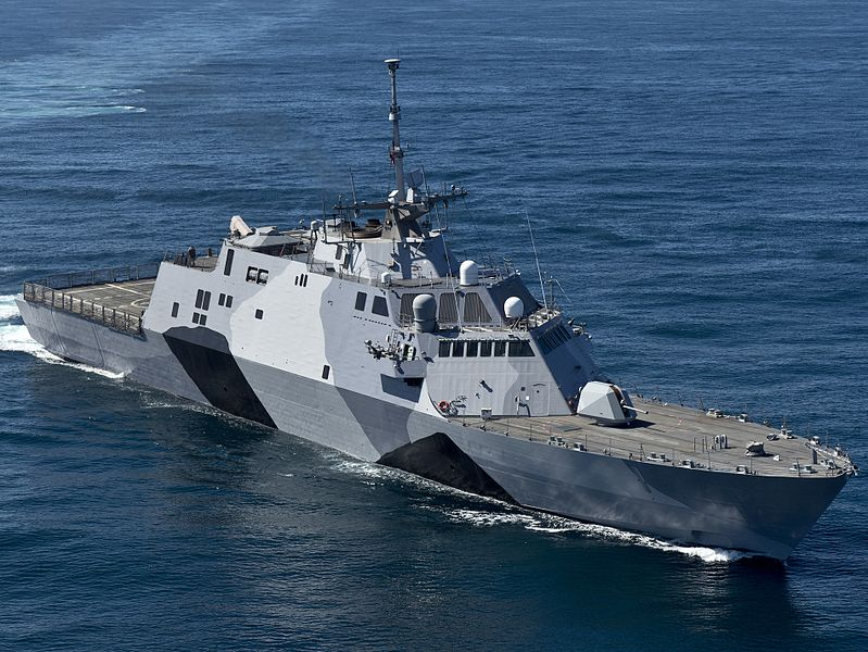 USS Freedom (LCS-1) shows off her camouflage scheme on sea trials in February 2013 prior her first deployment to the Asia-Pacific region. U.S. Navy Photo
