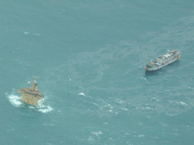 A pirated fishing vessel tied to the MV Albedo after the ship sank in July 2013. The hostages were believed to be transferred to the fishing vessel, but their exact whereabouts went unknown. Photo: EUNAVFOR