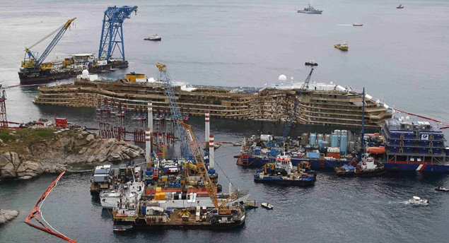 costa concordia righted upright