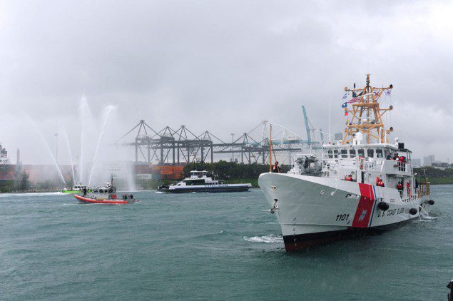 The USCGC Webber, the Coast Guard's first Sentinel Class patrol boat, arrives at Coast Guard Sector Miami Feb. 9, 2012. Photo: U.S. Coast Guard