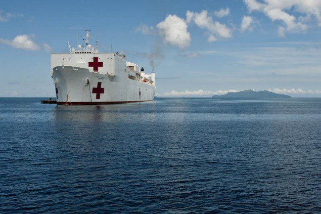 The Military Sealift Command hospital ship USNS Mercy (T-AH 19) sits off the coast of the Philippines during Pacific Partnership 2012.