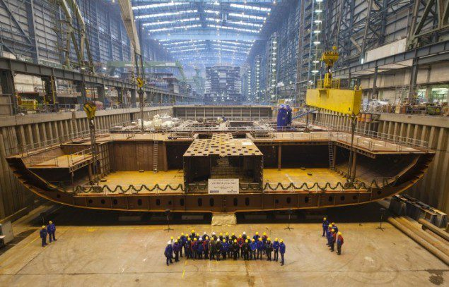 Royal Caribbean's Shanghai-bound 'Anthem of the Seas' under construction at Germany's Meyer Werft Shipyard. Photo courtesy Meyer Werft/Royal Caribbean