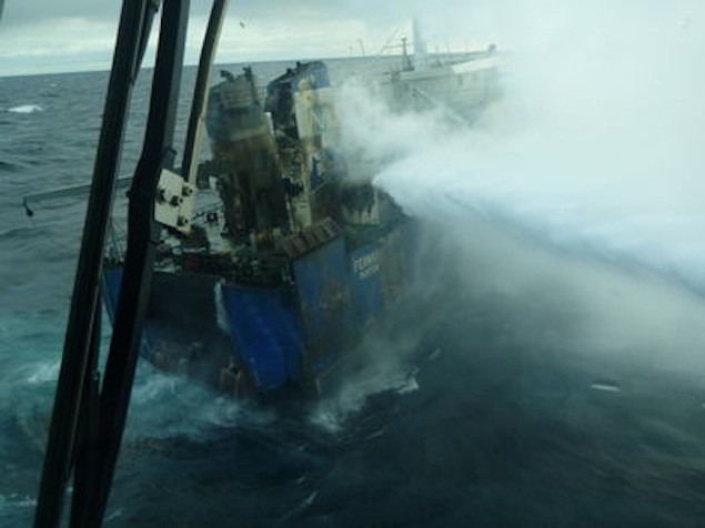The Icelandic Coast Guard vessel Thor fights a fire onboard the MV Fernanda. Image Courtesy Icelandic Coast Guard