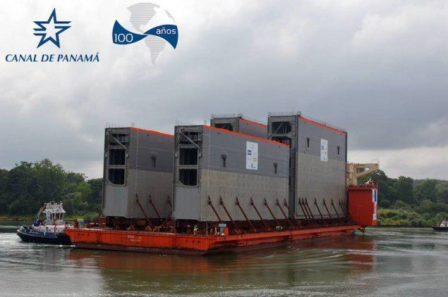 Four of the expanded Panama Canal's new  lock gates arrive in Colón, Panama, June 10, 2014. Photo courtesy Panama Canal Authority
