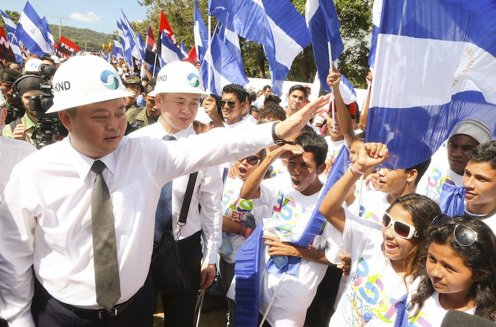 HK Nicaragua Canal Development Investment Co Ltd (HKND Group) Chairman Wang Jing greets young people during the start of the first works of the Interoceanic Grand Canal in Brito town December 22, 2014. REUTERS/Jairo Cajina/Presidential Palace Nicaragua/Handout
