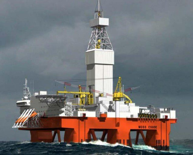 The West Rigel is a 6th generation semi-submersible based on the Moss Maritime CS60 design. Illustration courtesy Seadrill/North Atlantic Drilling
