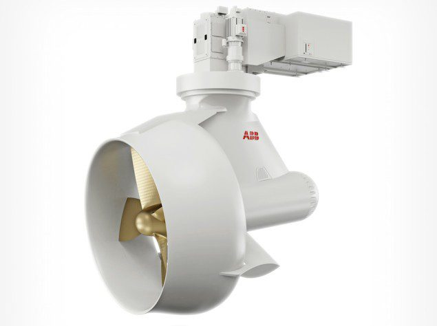 The Azipod electric propulsion system, a streamlined steerable pod motor mounted below the ship, with the propeller connected directly to the motor shaft, has become the preferred propulsion system across a range of shipping segments. Illustration: ABB