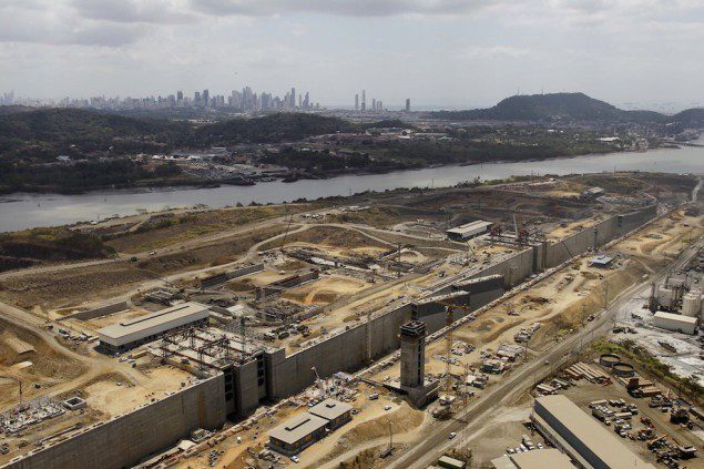 An aerial view of the construction site of the Panama Canal Expansion project is seen during an organised media tour by Italy's Salini Impregilo, one of the main sub contractors of the Panama Canal Expansion project in Panama City March 23, 2015. REUTERS/Carlos Jasso