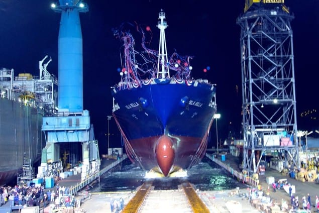 The world's first LNG-powered containership launched at the NASSCO shipyard, April 18, 2015. Photo: Department of Transportation