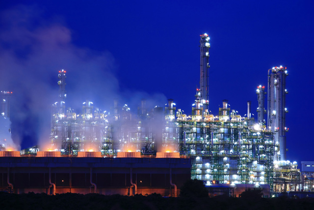 refinery night industrial Map Ta Phut Industrial Estate Rayong Thailand