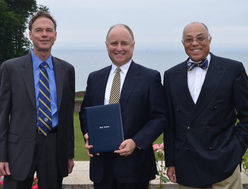 From left to right: President R. Keith Michel, Thomas B. Crowley, Jr., Dr. George Campbell, Jr. Photo: The Webb Institute