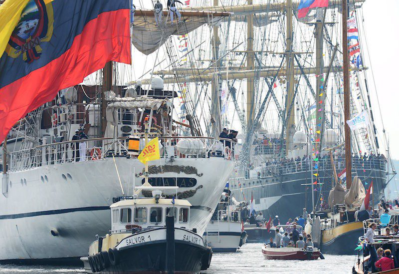 Ecuador's tall ship Guayas (L) is seen during the Sail-In Parade marking the beginning of the Sail Amsterdam 2015 nautical festival. REUTERS/Paul Vreeker/United Photos
