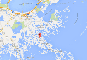 Pin shows location of West Pointe A La Hache, Louisiana. Map courtesy Google