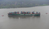 One of World's Biggest Containerships Hard Aground on Elbe River – AIS REPLAY