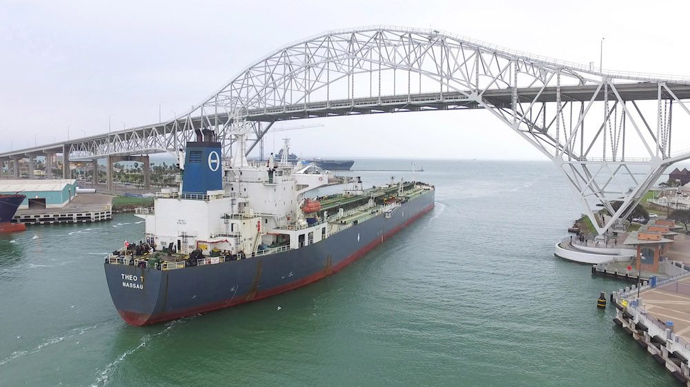 The Theo T departs the Corpus Christi with the first US crude oil export since the United States government repealed a 40 year ban on the export of crude oil in December. Photo credit: Port of Corpus Christi