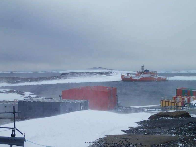 The Aurora Australis aground in Horshoe