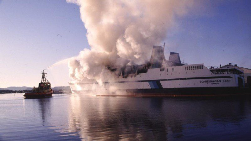 The Scandinavian Star on fire in 1990. Photo credit: hjak.se
