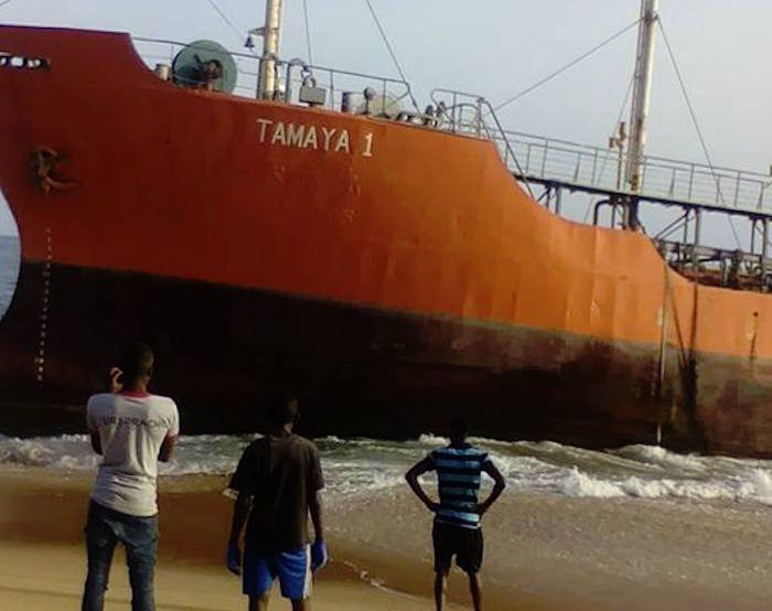 Tamaya 1 washed up along the coast of Liberia near Ra