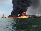 Watch: Fire Fighting Crews Battle PEMEX Tanker Blaze in Gulf of Mexico