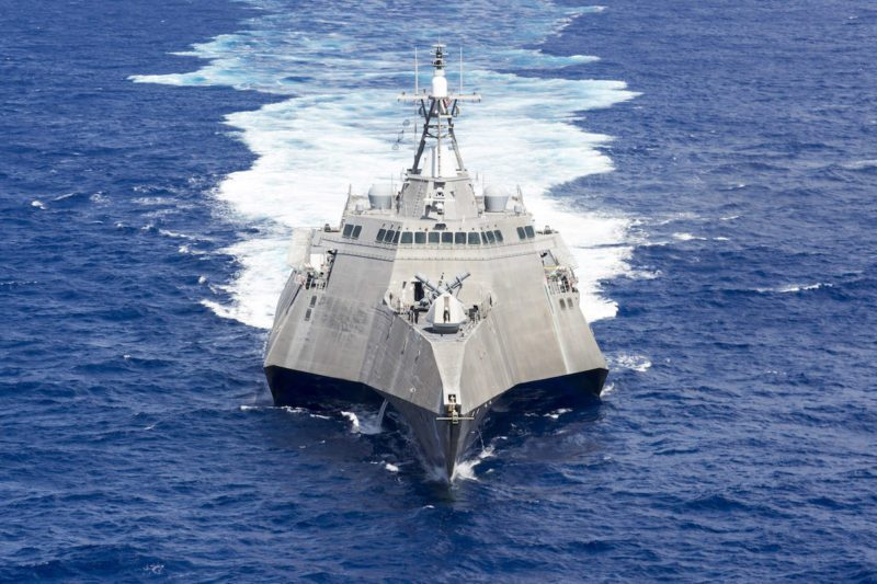 161006-N-MW990-109 PACIFIC OCEAN (October 06, 2016) Littoral combat ship USS Coronado (LCS 4) patrols the Pacific Ocean during flight operations in the 7th Fleet area of operation. Currently on a rotational deployment in support of the Asia-Pacific Rebalance, Coronado is a fast and agile warship tailor-made to patrol the region's littorals and work hull-to-hull with partner navies, providing 7th Fleet with the flexible capabilities it needs now and in the future. (U.S. Navy photo by Petty Officer Second Class Michaela Garrison/Released