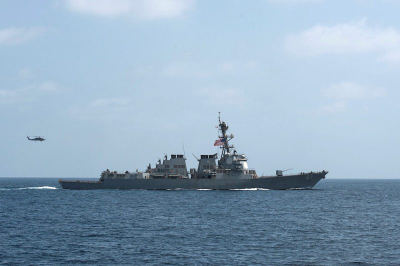 FILE PHOTO - The U.S. Navy guided-missile destroyer USS Mason conducts divisional tactic maneuvers as part of a Commander, Task Force 55, exercise in the Gulf of Oman September 10, 2016. U.S. Navy/Mass Communication Specialist 1st Class Blake Midnight/Handout via REUTERS/File PhotoTHIS IMAGE HAS BEEN SUPPLIED BY A THIRD PARTY. IT IS DISTRIBUTED, EXACTLY AS RECEIVED BY REUTERS, AS A SERVICE TO CLIENTS. FOR EDITORIAL USE ONLY. NOT FOR SALE FOR MARKETING OR ADVERTISING CAMPAIGNS. TPX IMAGES OF THE DAY