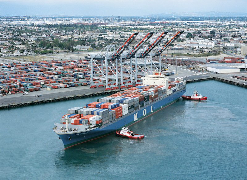 An MOL container berths at the Port of Los Angeles. File photo: Port of Los Angeles