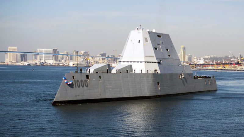 SAN DIEGO (Dec. 8, 2016) The guided-missile destroyer USS Zumwalt (DDG 1000) arrives at its new homeport in San Diego. Zumwalt, the Navy's most technologically advanced surface ship, will now begin installation of combat systems, testing and evaluation and operation integration with the fleet. (U.S. Navy photo by Petty Officer 3rd Class Emiline L. M. Senn/Released)