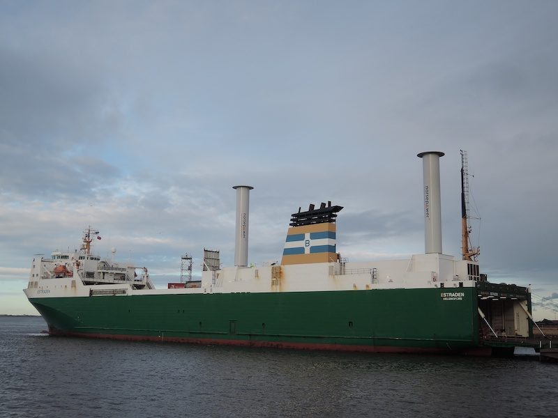 M/V Estraden with two Rotor Sail units.