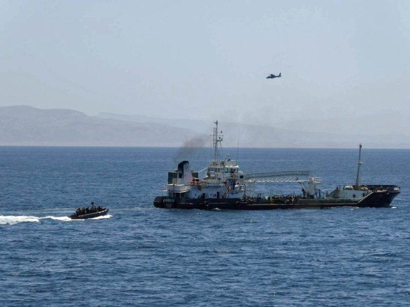 A EU Naval Force bording team approaches the MT Aris 13 after it released by pirates last Thursday four days after it was pirated off the coast of Somalia. Photo: EU EUNAVFOR